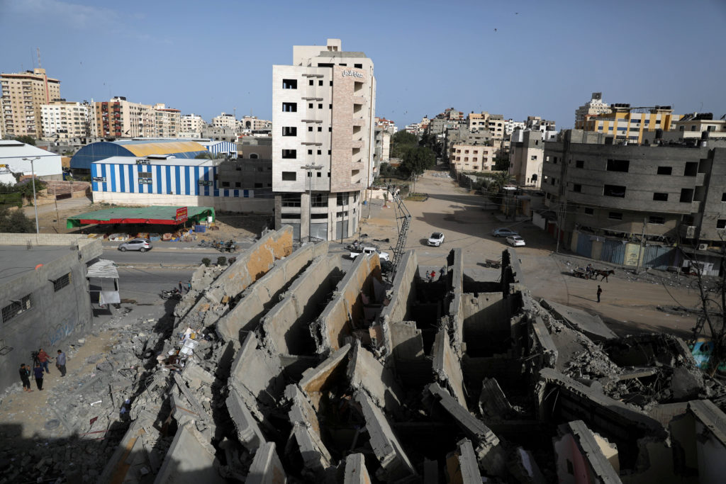 A view shows the remains of a building that was destroyed by Israel…