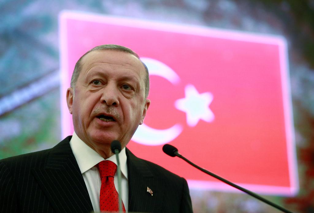 Turkish President Tayyip Erdogan speaks at North Atlantic Council Mediterranean Dialogue Meeting in Ankara, Turkey on May 6, 2019. Photo by Murat Cetinmuhurdar/Presidential Press Office/Handout via Reuters