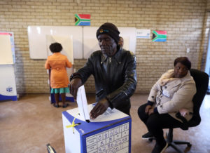 A voter casts his ballot at a polling station, during the South Africa's parliamentary and provincial elections in Soweto, Johannesburg, South Africa, on May 8, 2019. Photo by Mike Hutchings/Reuters