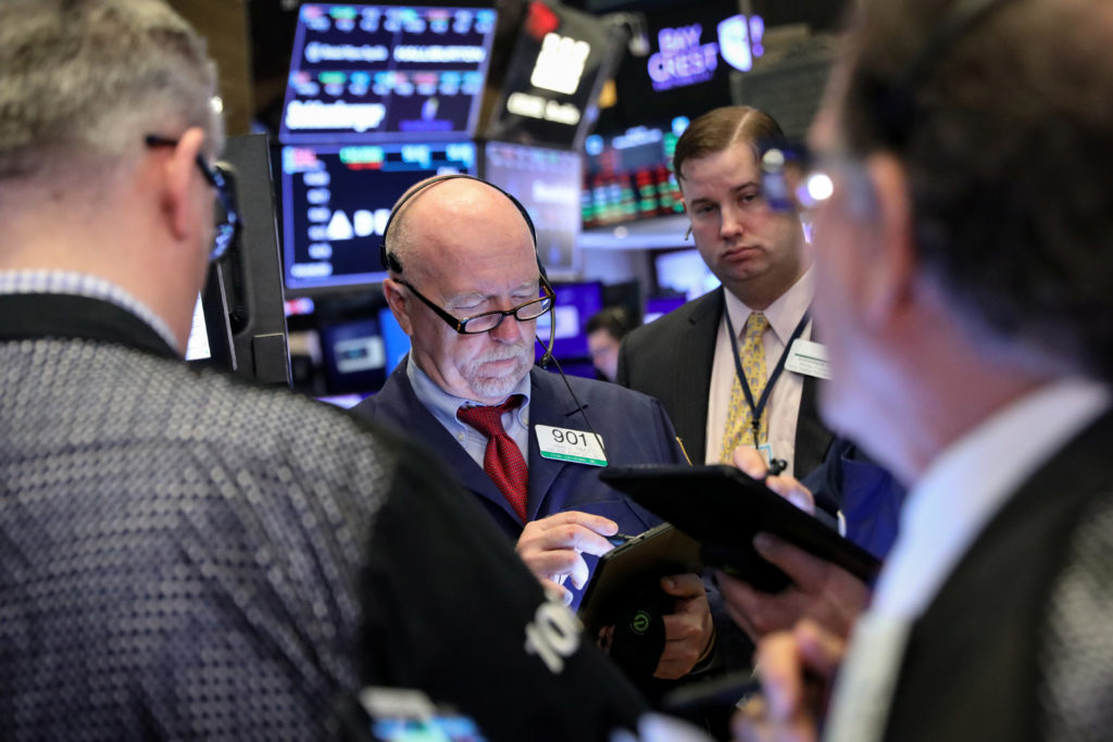 Traders work on the floor at the New York Stock Exchange on May 8, 2019. Photo by Brendan McDermid/Reuters