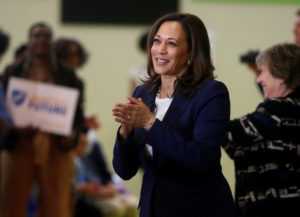 Senator Kamala Harris speaks to members of the American Federation of Teachers in Detroit, Michigan, on May 6, 2019. Photo by Rebecca Cook/Reuters