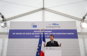 French President Emmanuel Macron speaks during a news conference after the informal meeting of European Union leaders in Sibiu, Romania on May 9, 2019. Photo by Stoyan Nenov/Reuters