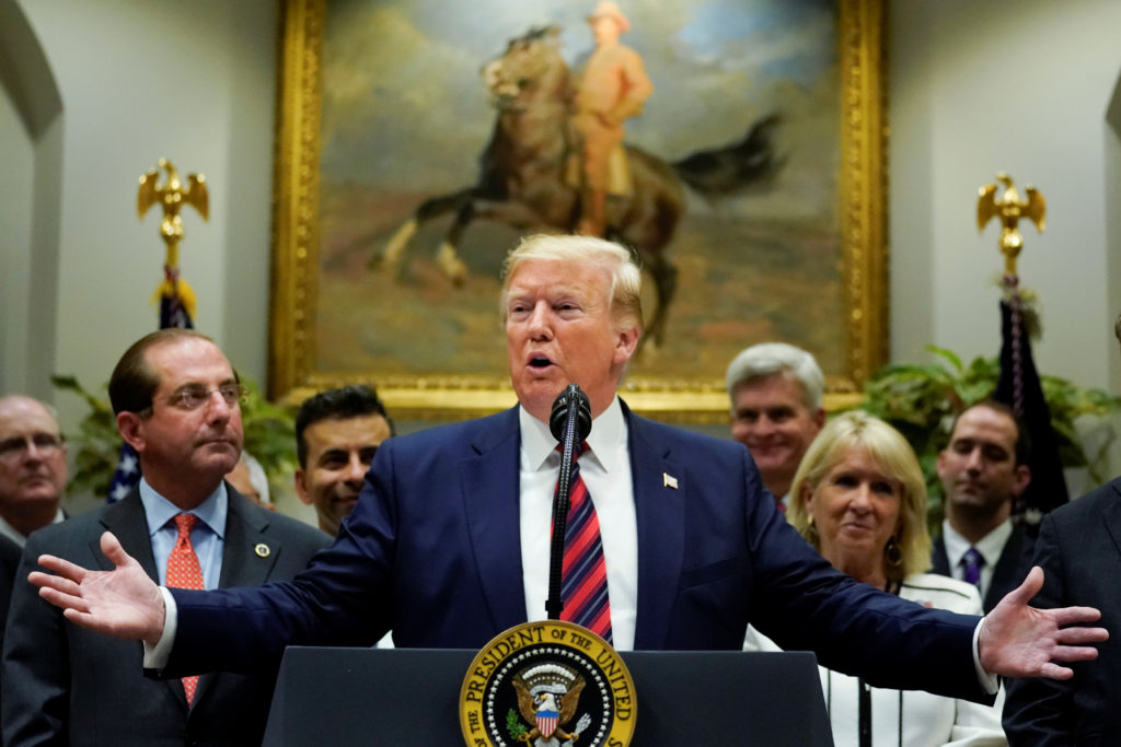 President Donald Trump reiterated his threat to impose new tariffs on China during an event to discuss a proposal to end surprise medical billing in the Roosevelt Room at the White House on May 9, 2019. Photo by Jonathan Ernst/Reuters