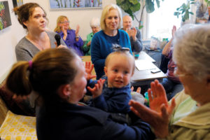 Audience members clap as Democratic 2020 U.S. presidential candidate and Senator Kirsten Gillibrand (D-NY) is introduced during a campaign stop at A&E Coffee and Tea in Apotheca in Goffstown, New Hampshire, on May 10, 2019. Photo by Brian Snyder/Reuters