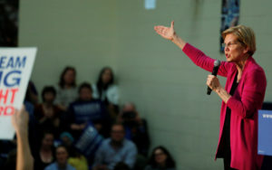 Democratic 2020 U.S. presidential candidate and U.S. Senator Elizabeth Warren, D-Mass., speaks during a townhall event in Columbus, Ohio, on May 10, 2019. Photo by Maddie McGarvey/Reuters