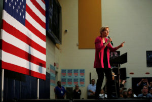 Democratic 2020 U.S. presidential candidate and U.S. Senator Elizabeth Warren D-Mass., speaks during a townhall event in Columbus, Ohio, on May 10, 2019. Photo by Maddie McGarvey/Reuters
