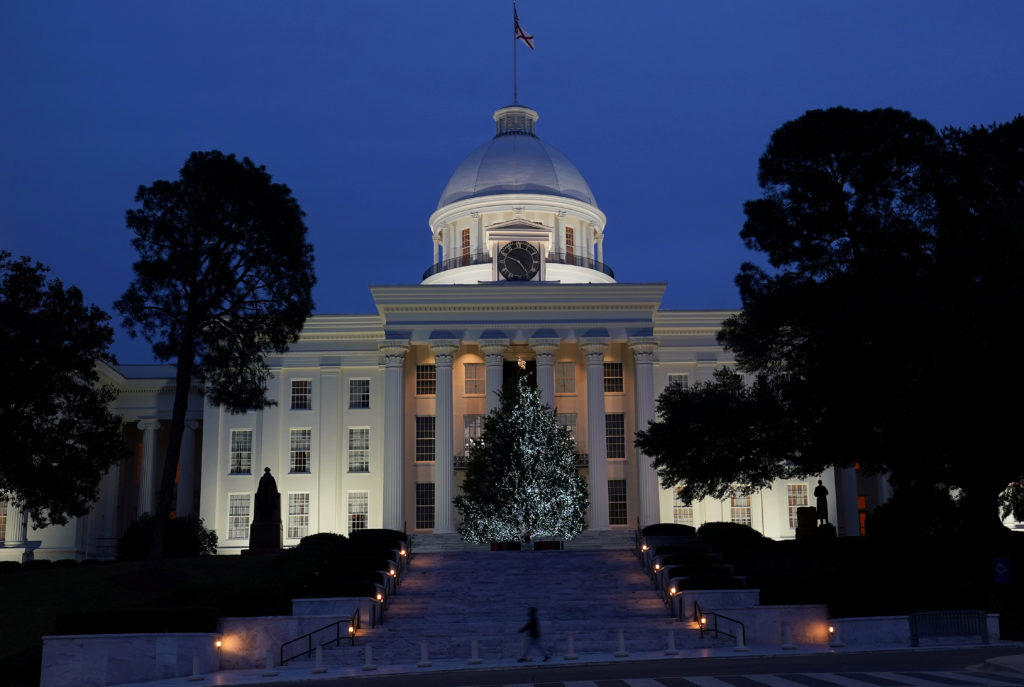 The Alabama State Capitol building is pictured in Montgomery, Alabama, on December 14, 2017. Photo by Carlo Allegri/Reuters
