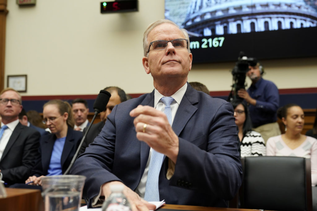 "Daniel Elwell, acting administrator of the Federal Aviation Administration; arrives to testify before a House Transportation and Infrastructure Committee Aviation Subcommittee hearing on the ""status of the Boeing 737 MAX"" on Capitol Hill in Washington, on May 15, 2019. Photo by Joshua Roberts/Reuters"