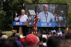 Democratic presidential candidate and former Vice President Joe Biden speaks during the kickoff rally of his campaign for the 2020 Democratic presidential nomination in Philadelphia, Pennsylvania, on May 18, 2019. Photo by Jonathan Ernst/Reuters