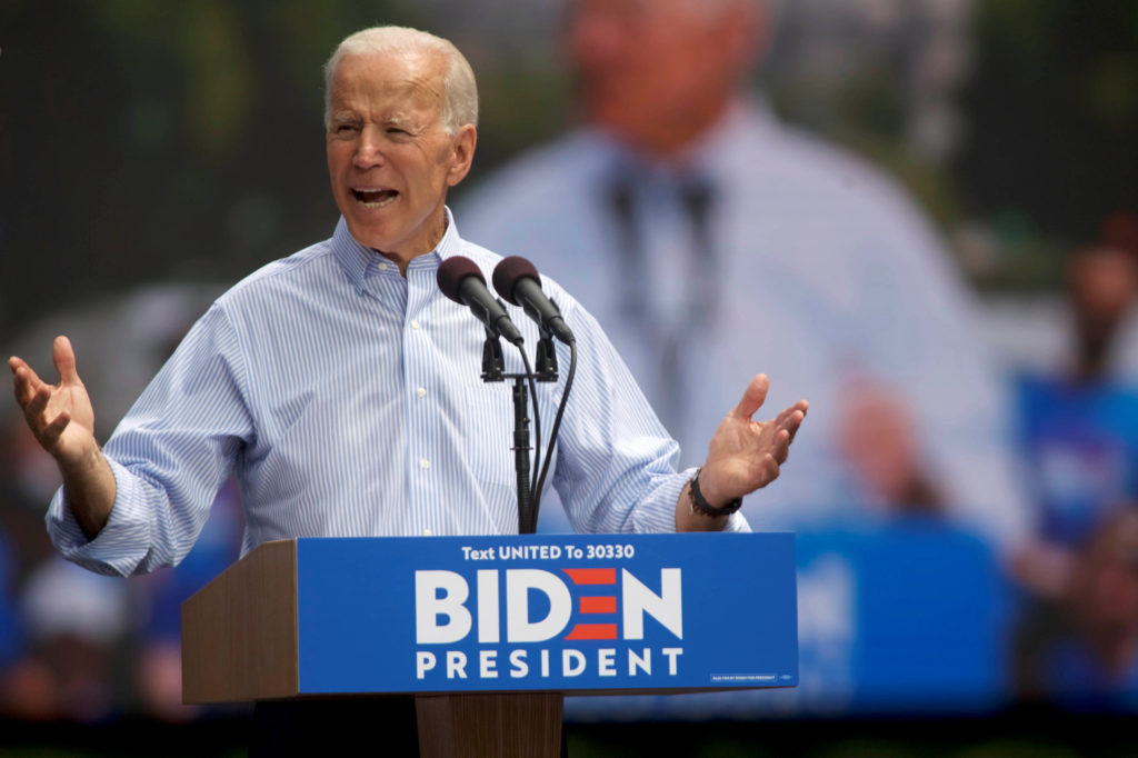 Democratic 2020 U.S. presidential candidate and former Vice President Joe Biden speaks during a campaign stop in Philadelphia, Pennsylvania, on May 18, 2019. Photo by Mark Makela/Reuters