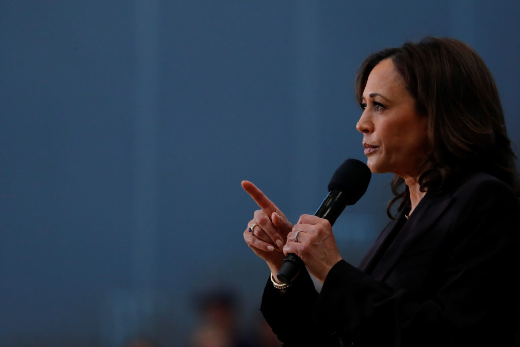 Sen. Kamala Harris holds her first organizing event in Los Angeles as she campaigns in the 2020 Democratic presidential nomination race in Los Angeles, California, on May 19, 2019. Photo by Mike Blake/Reuters