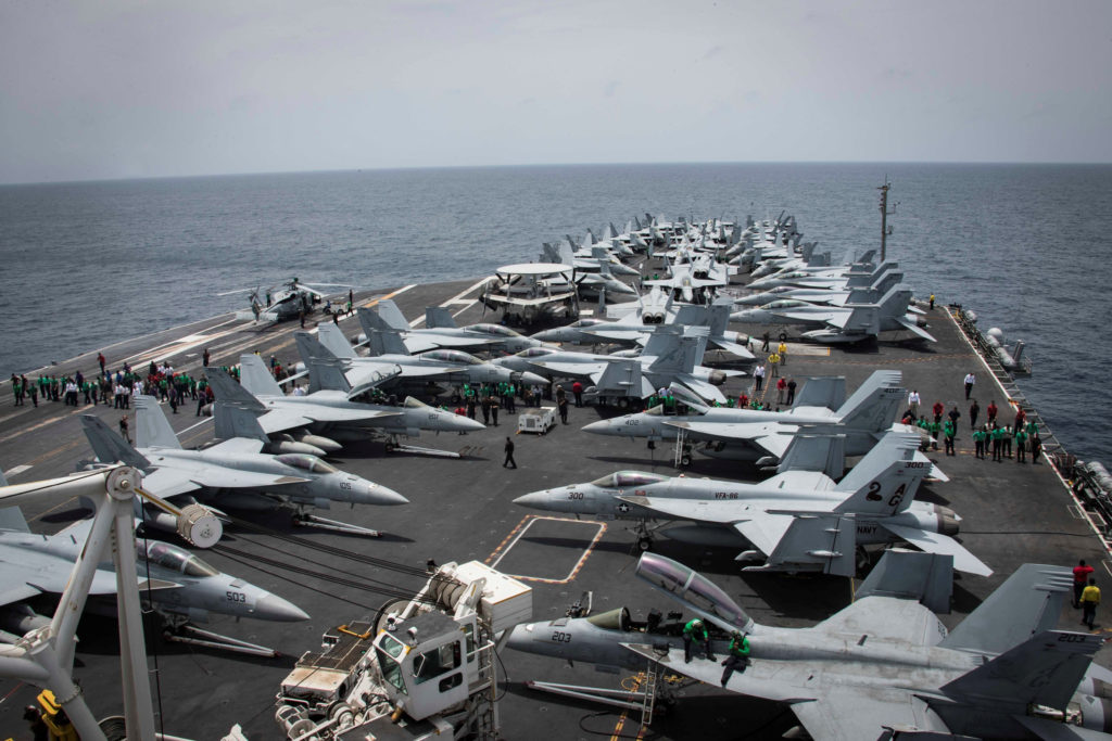 Flight deck of the U.S aircraft carrier USS Abraham Lincoln is seen in the Arabian Sea, on May 19, 2019. Photo by Garrett LaBarge/U.S. Navy/Handout via Reuters