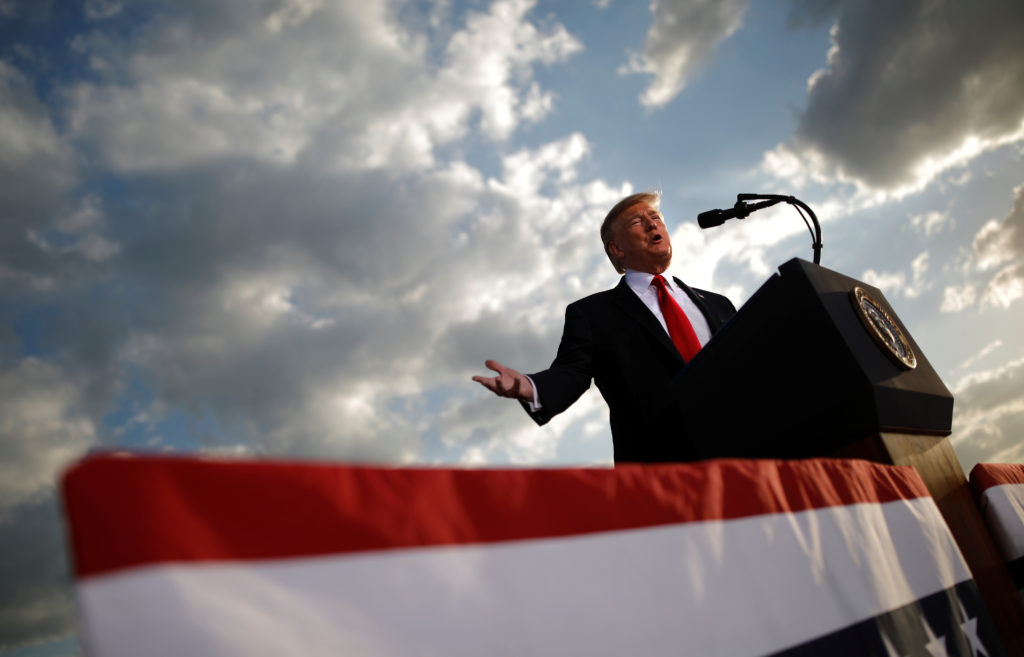 President Donald Trump addresses a Trump 2020 re-election campaign rally in Montoursville, Pennsylvania, on May 20, 2019....