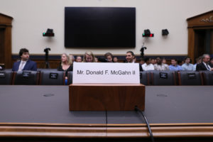 "The nameplate of former White House Counsel Donald McGahn, who was scheduled to appear at a House Judiciary Committee hearing titled ""Oversight of the Report by Special Counsel Robert S. Mueller III,"" is seen inside the committee room where McGahn failed to appear on Capitol Hill in Washington, on May 21, 2019. Photo by Jonathan Ernst/Reuters"