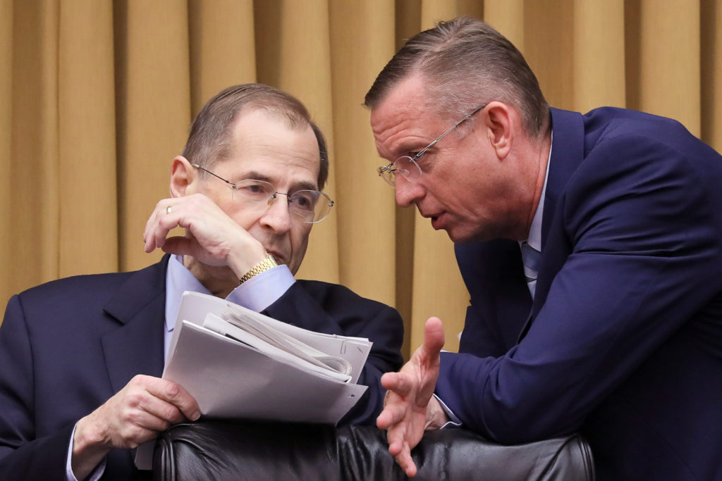 House Judiciary Committee Chairman Jerrold Nadler (D-NY) confers with ranking member Rep. Doug Collins (R-GA) at a House J...