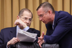 "House Judiciary Committee Chairman Jerrold Nadler (D-NY) confers with ranking member Rep. Doug Collins (R-GA) at a House Judiciary Committee hearing titled ""Oversight of the Report by Special Counsel Robert S. Mueller III,"" at which witness former White House Counsel Donald McGahn was subpoened to testify but failed to appear on Capitol Hill in Washington, on May 21, 2019. Photo by Jonathan Ernst/Reuters"