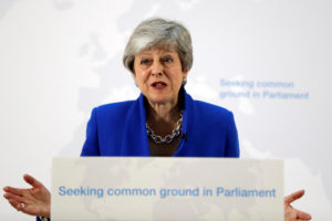 Britain's Prime Minister Theresa May delivers a speech on Brexit in London on May 21, 2019. Photo by Kirsty Wigglesworth/Pool via Reuters