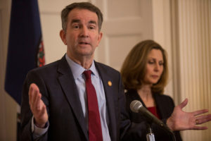 Virginia Governor Ralph Northam, accompanied by his wife Pamela Northam, announces he will not resign during a news conference Richmond, Virginia, on February 2, 2019. Photo by Jay Paul/Reuters