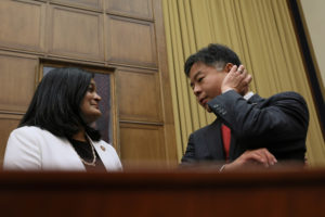 Committee members U.S. Representative Pramila Jayapal (D-WA) and Representative Ted Lieu (D-CA) speak before a House Judiciary Committee hearing on the Mueller Report where the hearing where former White House Counsel Donald McGahn failed to appear on Capitol Hill in Washington, U.S., May 21, 2019. Photo by Jonathan Ernst/Reuters