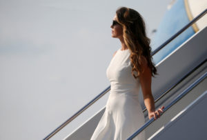 Former White House Communications Director Hope Hicks exits Air Force One behind President Donald Trump after they arrived at the John Glenn Columbus International Airport in Columbus, Ohio, in August 2018. Photo by REUTERS/Leah Millis