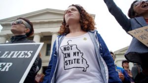 Hundreds of women protest on the steps of the Old Courthouse during a Stop the Abortion Ban Bill Day of Action in St. Louis, Missouri, on May 21, 2019. Photo by Lawrence Bryant/Reuters