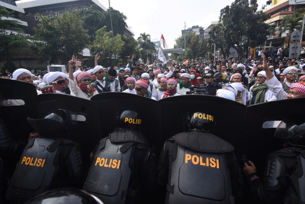 People protest outside the Elections Supervisory Agency (Bawaslu) office in Jakarta, Indonesia May 22, 2019. Photo by Antara Foto/Indrianto Eko Suwarso/ via Reuters