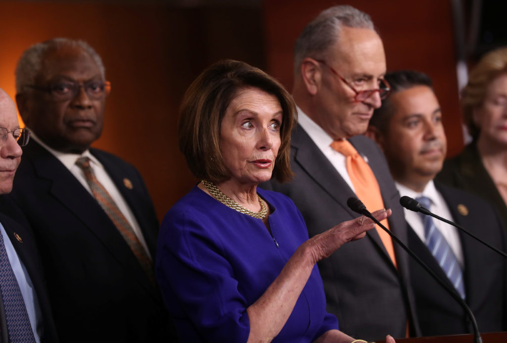 Speaker of the House Nancy Pelosi (D-CA) and Senate Democratic Leader Chuck Schumer (D-NY) speak to the media with House Majority Whip Jim Clyburn (D-SC) and Assistant House Speaker Ben Ray Lujan (D-NM) at their sides after returning to the U.S. Capitol from a meeting with U.S. President Donald Trump at the White House in Washington, on May 22, 2019. Photo by Jonathan Ernst/Reuters
