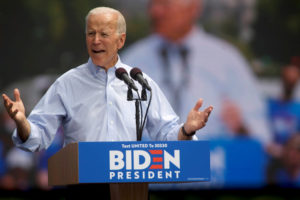 Democratic 2020 U.S. presidential candidate and former Vice President Joe Biden speaks during a campaign stop in Philadelphia on May 18, 2019. File photo by REUTERS/Mark Makela