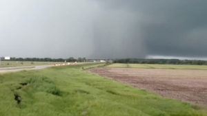 A tornado is seen in Eudora, Kansas, in this still from a video taken May 28, 2019 obtained from social media. Image by Kim Scott via Reuters