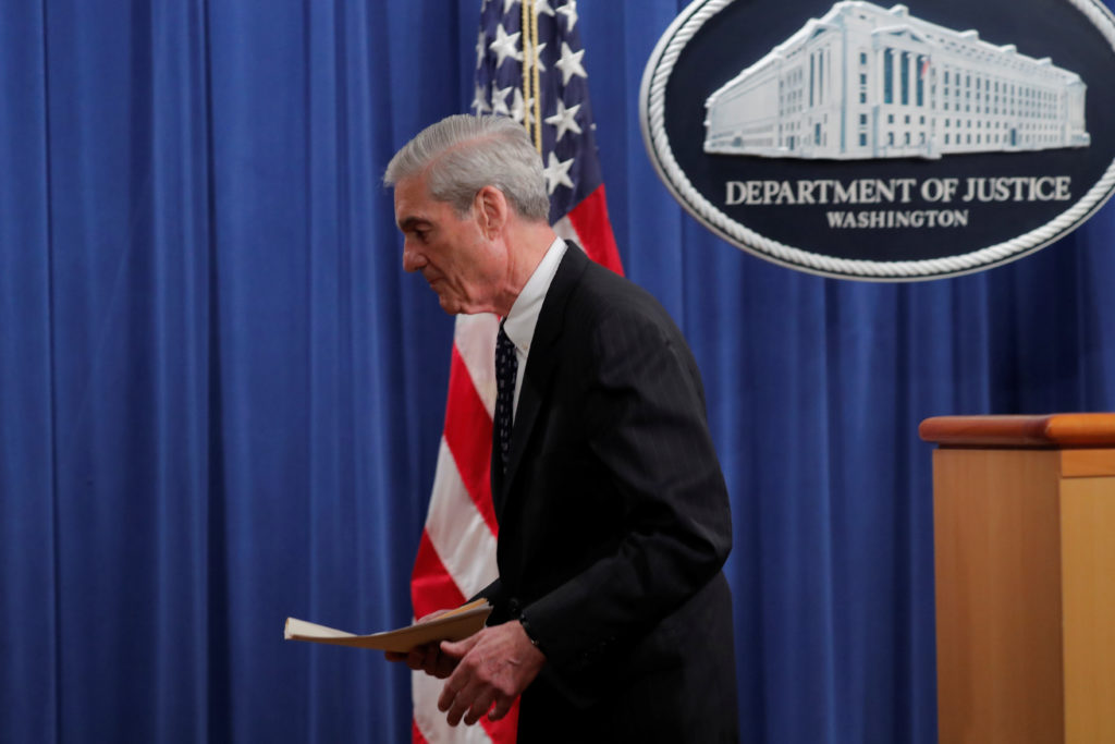 Special counsel Robert Mueller departs after delivering a statement on his investigation into Russian interference in the ...
