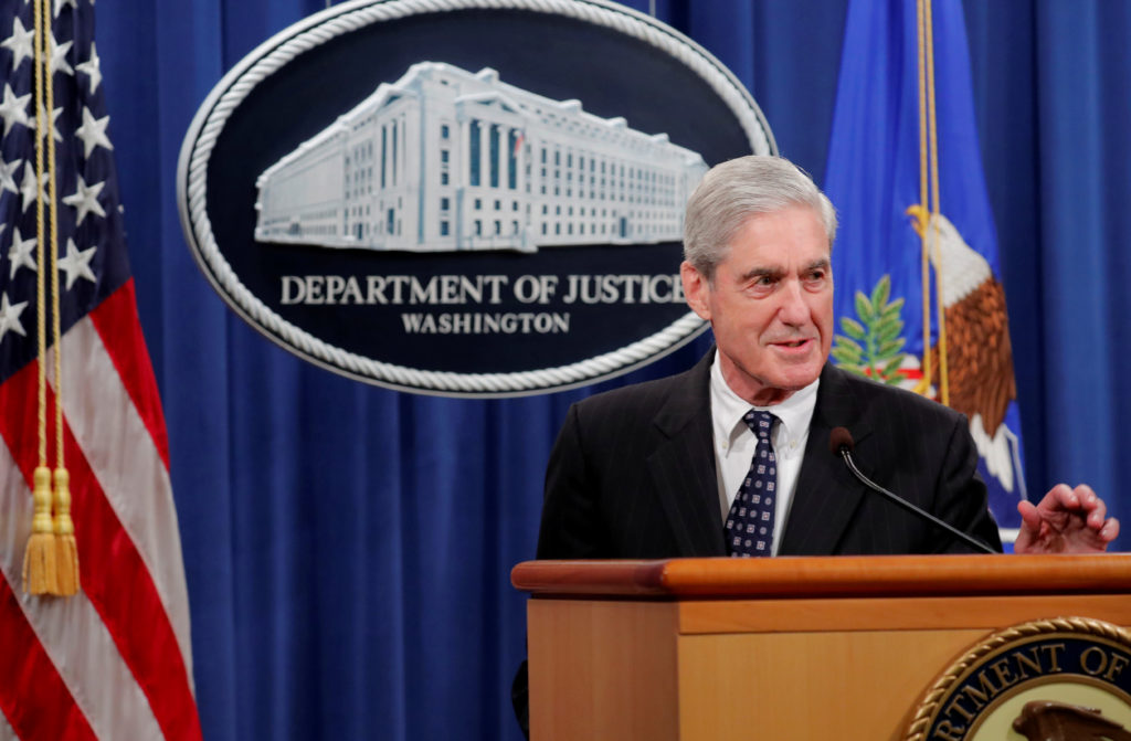 U.S. Special Counsel Robert Mueller delivers a statement on his investigation into Russian interference in the 2016 U.S. presidential election at the Justice Department in Washington, on May 29, 2019. Photo by Jim Bourg/Reuters