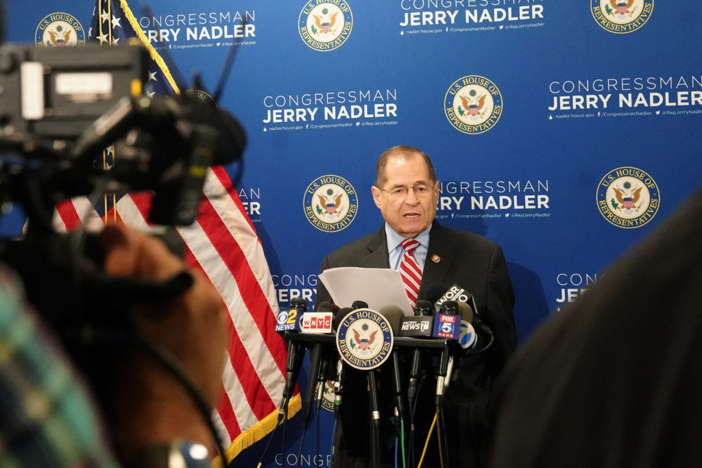 Congressman Jerry Nadler (D-NY) speaks to the media in the Manhattan borough of New York, New York, after Mueller made a statement about the Russia investigation on May 29, 2019. Photo by Carlo Allegri/Reuters