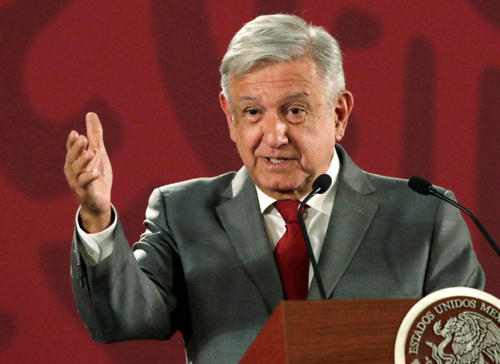 Mexico's President Andres Manuel Lopez Obrador speaks a news conference at the National Palace in Mexico City, on May 31, ...