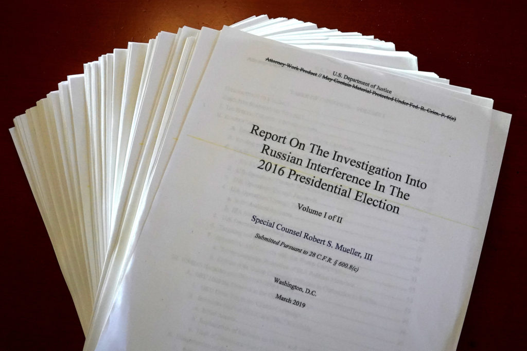 The Mueller Report on the Investigation into Russian Interference in the 2016 Presidential Election is pictured in New York, New York, U.S., April 18, 2019. Photo by REUTERS/Carlo Allegri