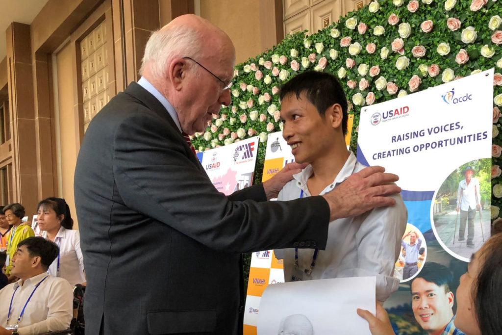 Senator Patrick Leahy at a ceremony marking U.S. humanitarian aid to victims of Agent Orange in Bien Hoa last month. Photo by Nguyen Thac Phuong/USAID