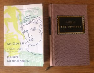 "Daniel Mendelsohn's ""An Odyssey"" (2017) alongside Homer's ""Odyssey,"" published more than 2,800 years ago. Photo credit: Elizabeth Flock"