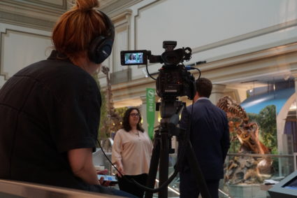 Architect Pauline Dolovich spoke to NewsHour for a segment on the new Hall of Fossils. Image by Vicky Stein/Newshour