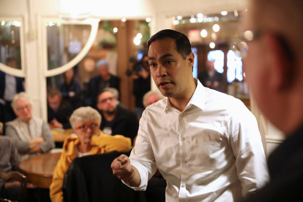 2020 Democratic presidential candidate Julian Castro speaks during a campaign stop at The Livery Deli, in Boone, Iowa, on ...
