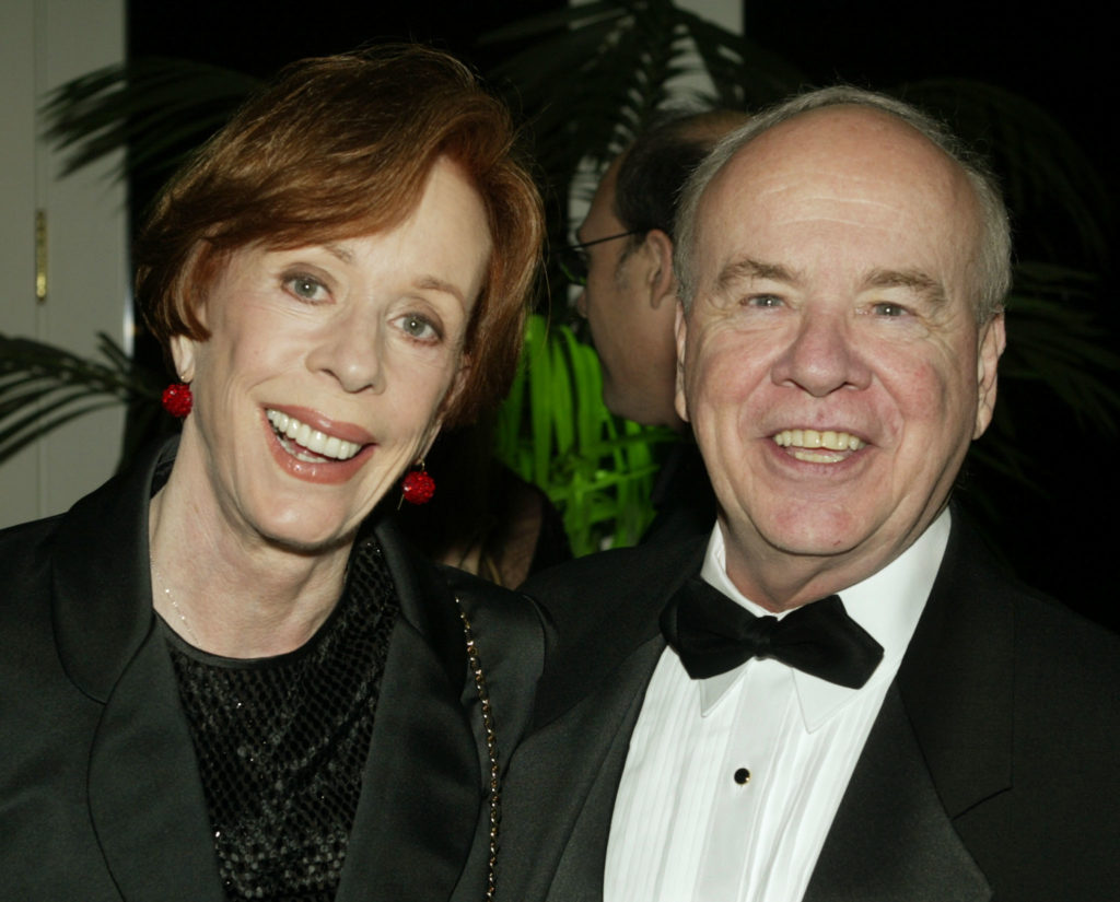Actor Tim Conway poses with actress Carol Burnett at the Academy of Television Arts & Sciences 15th annual Hall of Fam...