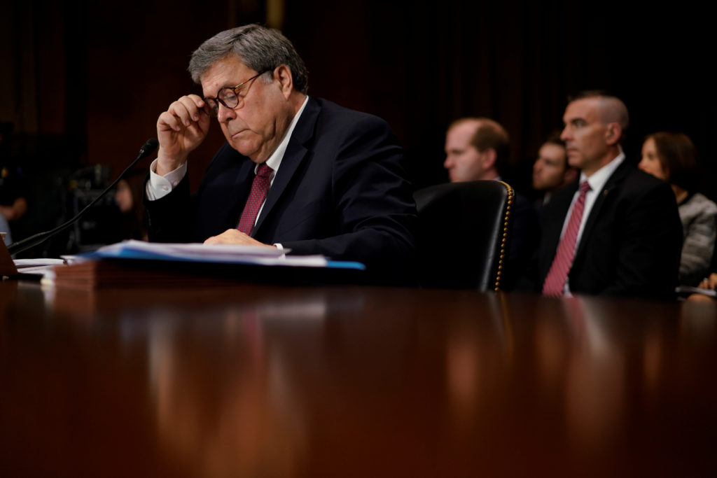 """U.S. Attorney General William Barr testifies before a Senate Judiciary Committee hearing entitled """"The Justice Department's Investigation of Russian Interference with the 2016 Presidential Election."""" on Capitol Hill in Washington, U.S., May 1, 2019. REUTERS/Aaron P. Bernstein - RC196DF06EA0"""