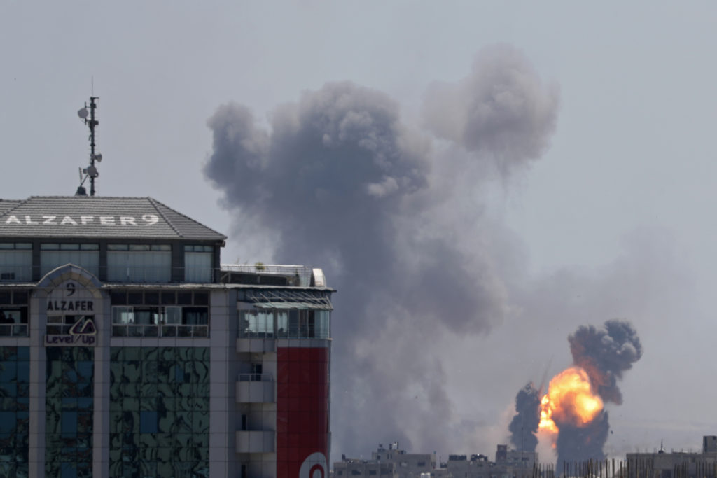 A ball of fire is seen during Israeli air strikes in Gaza May 4, 2019. Photo by Mohammed Salem/Reuters
