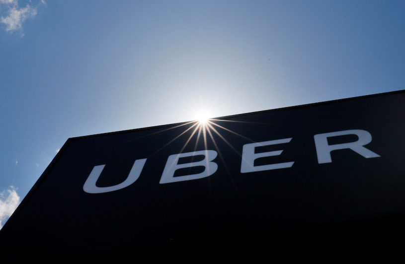 A sign marks the offices of Uber in Saugus, Massachusetts, U.S., May 8, 2019. REUTERS/Brian Snyder
