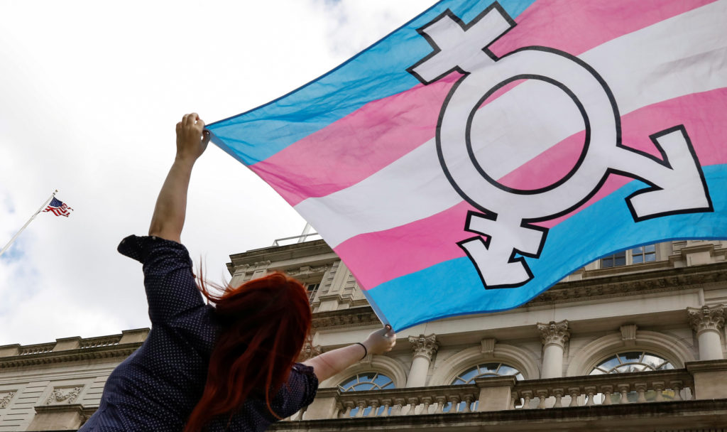 A person holds up a flag during rally to protest the Trump administration's reported transgender proposal to narrow the definition of gender to male or female at birth, at City Hall in New York City, U.S., October 24, 2018. REUTERS/Brendan McDermid