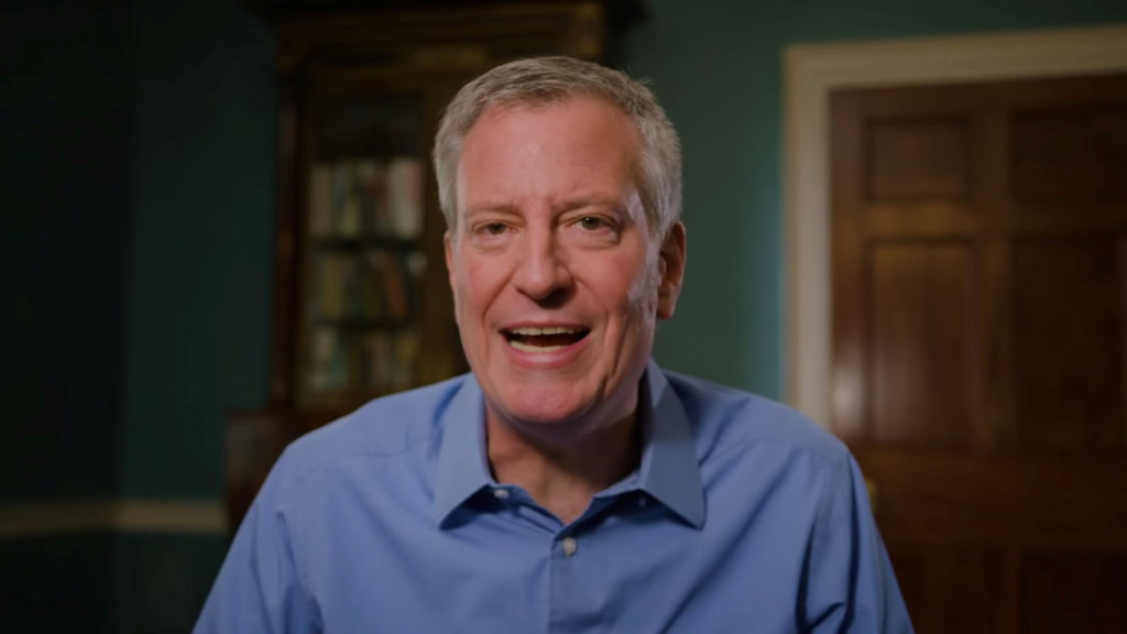New York City Mayor Bill de Blasio announces his candidacy for the Democratic presidential nomination in this still image taken from a video released May 16, 2019.     Photo courtesy Bill de Blasio 2020/Handout via REUTERS