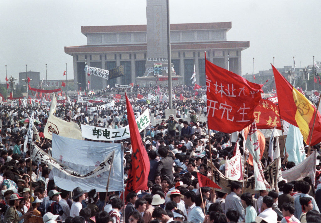 Hundreds of thousands of people fill Peking's central Tiananmen Square May 17, 1989 in front of the Monument to People's Heroes and Mao's mausoleum in the biggest popular upheaval in China since the Cultural Revolution of the 1960's.  Photo by Ed Nachtrieb/Reuters
