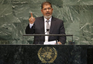 President of Egypt Mohamed Morsi addresses the 67th United Nations General Assembly at U.N. headquarters in New York, September 26, 2012. Photo by Mike Segar/Reuters