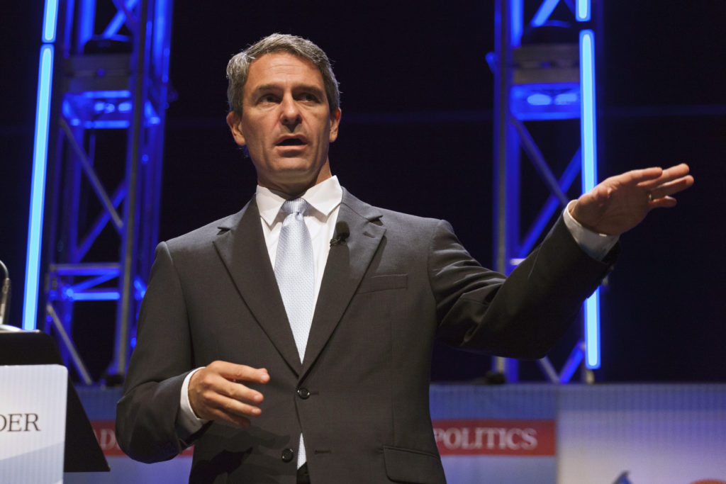 Former Virginia Attorney General Ken Cuccinelli speaks at the Family Leadership Summit in Ames, Iowa August 9, 2014. Photo...