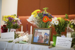 A makeshift memorial for Deah Shaddy Barakat, his wife Yusor Mohammad and Yusor's sister Razan Mohammad Abu-Salha, who were killed by a gunman, is pictured inside of the University of North Carolina School of Dentistry, in Chapel Hill, North Carolina February 11, 2015. Photo by Chris Keane/Reuters