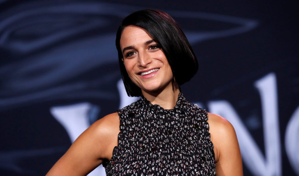 """Jenny Slate attends the premiere for the movie """"Venom"""" in Los Angel…"""