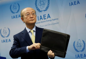 International Atomic Energy Agency (IAEA) Director General Yukiya Amano addresses a news conference during a board of governors meeting at the IAEA headquarters in Vienna, Austria March 4, 2019. Photo by Leonhard Foeger/Reuters